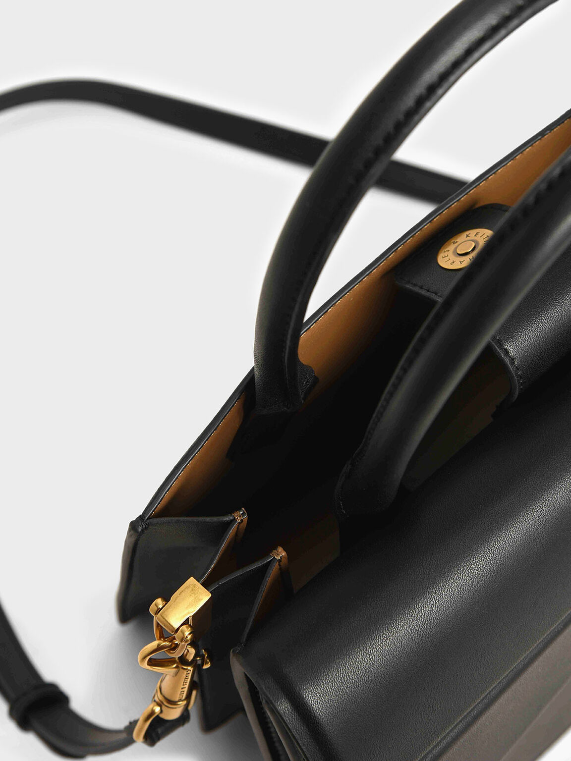 Metallic Accent Trapeze Bag, Black, hi-res