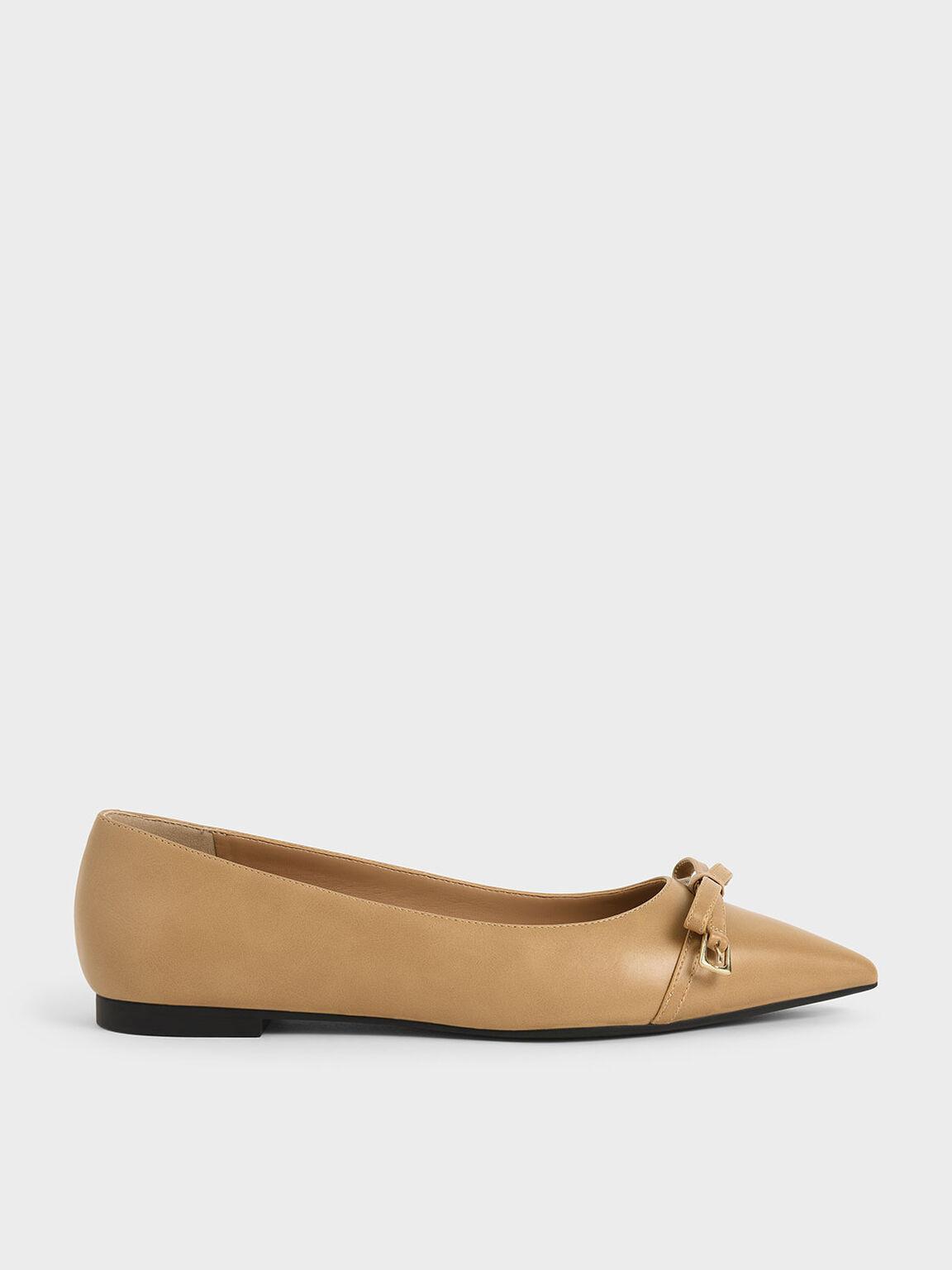 Bow Ballerina Flats, Camel, hi-res