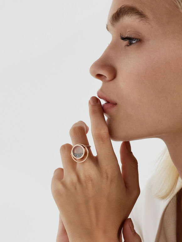 Silver Sparkling Sandstone Floating Locket Ring, Gold, hi-res