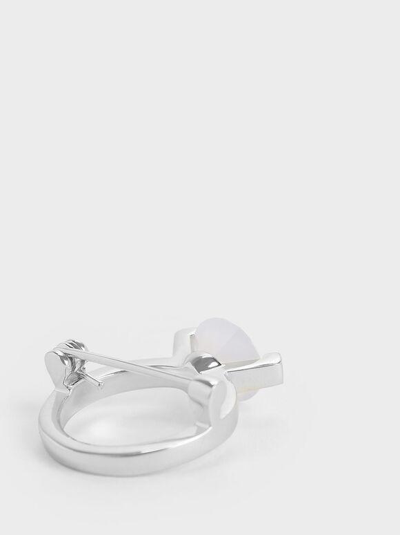 玉髓圓型胸針, 銀色, hi-res