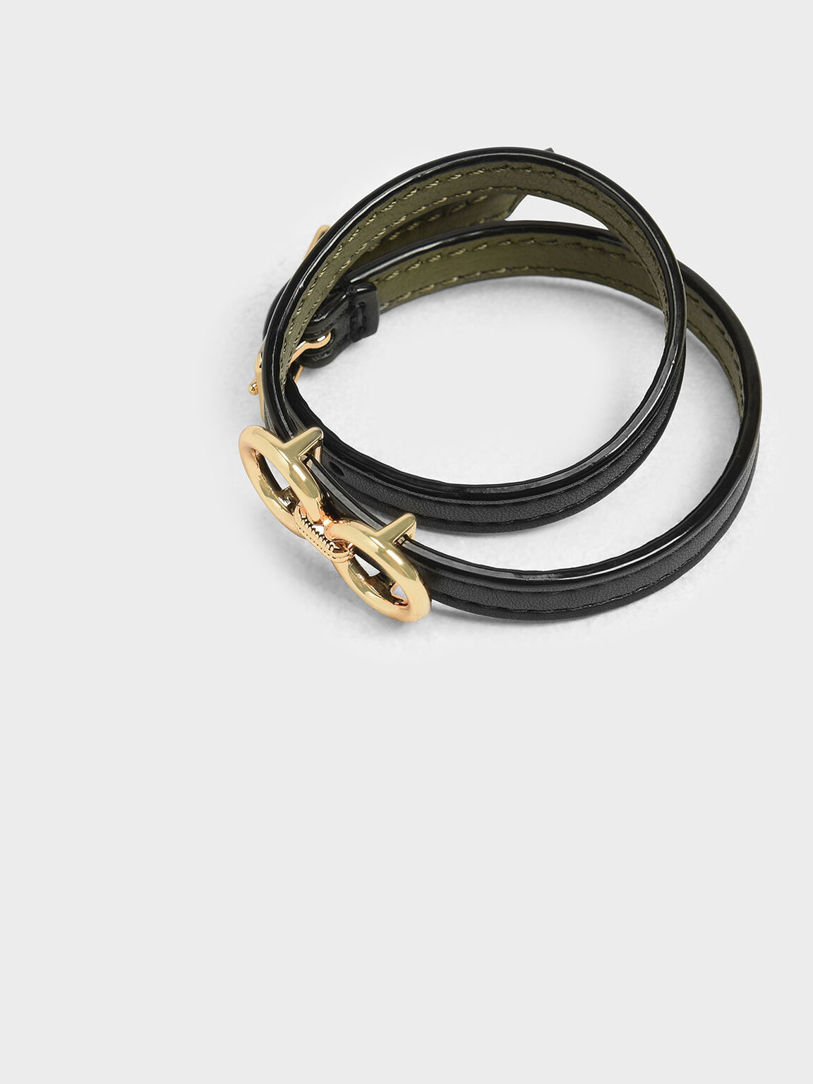 Double Wrap Around Belt Bracelet, Black, hi-res