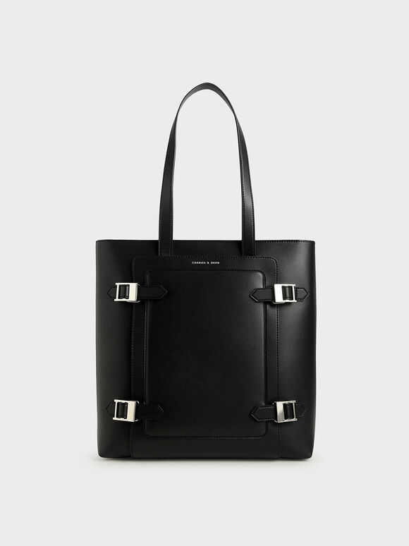Buckle Tote Bag, Black, hi-res