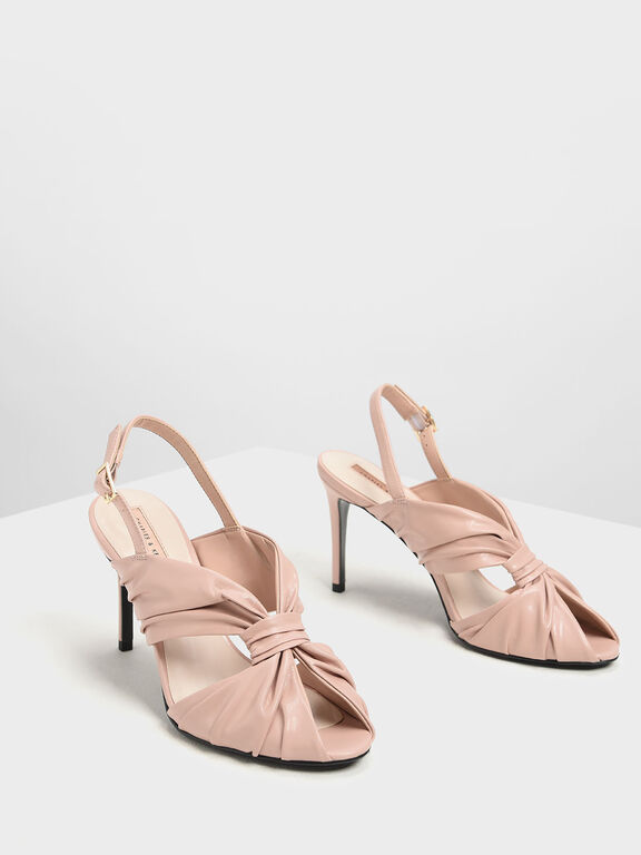 Open Toe Ruched Slingback Heels, Nude