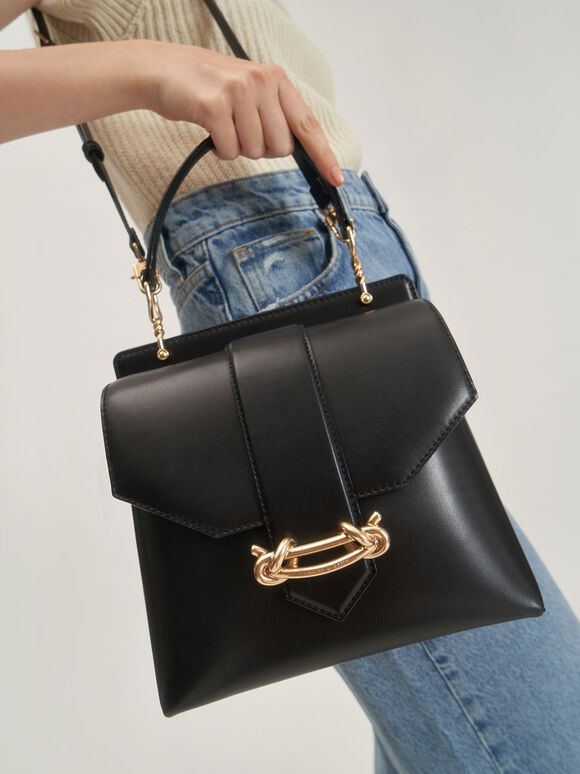 扭結釦手提包, 黑色, hi-res