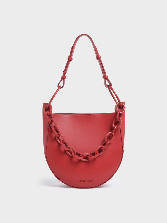 Chunky Chain Link Hobo Bag, Red, hi-res
