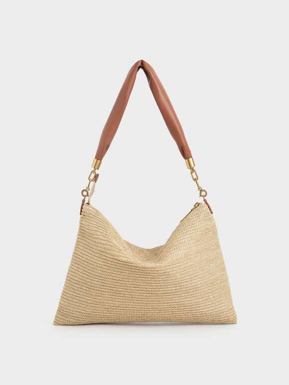 Raffia Hobo Bag, Sand, hi-res