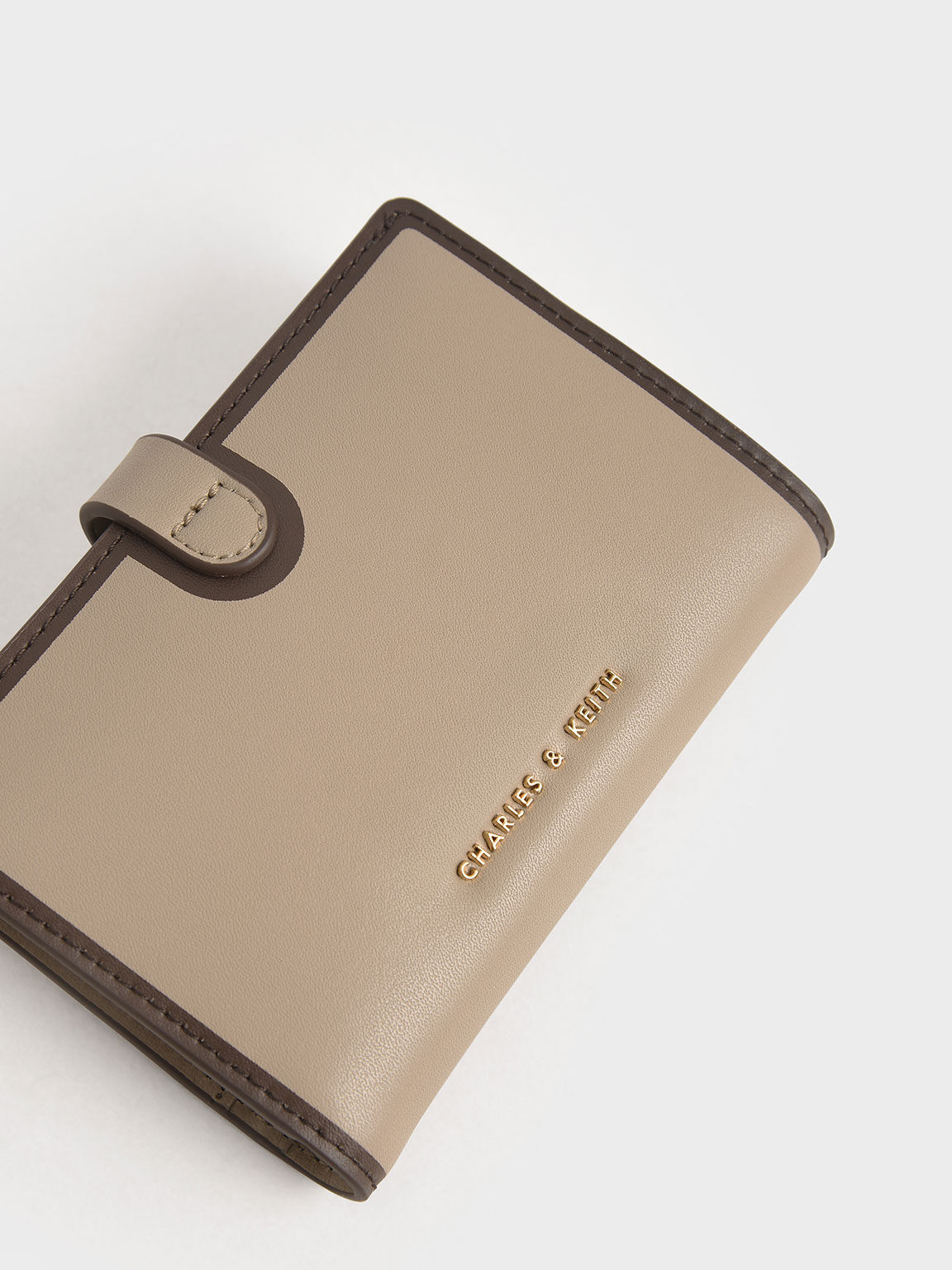 Snap Button Wallet, Taupe, hi-res