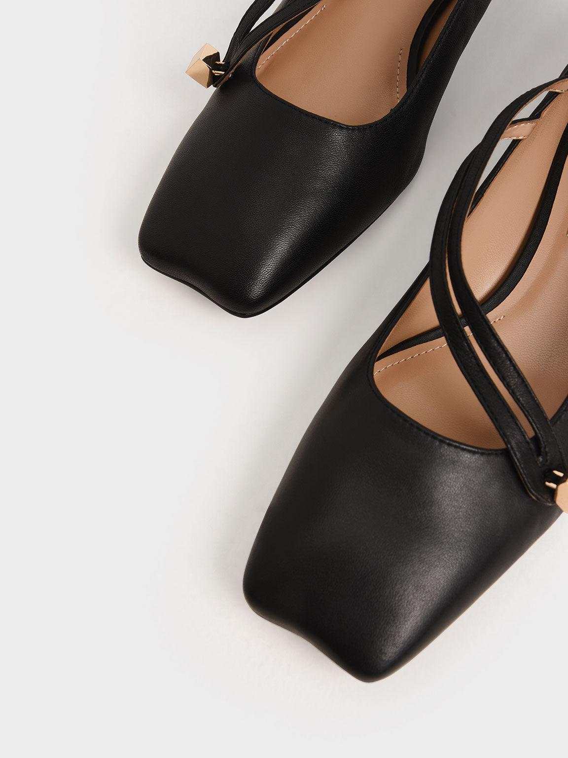 Leather Asymmetric Strap Ballerina Flats, Black, hi-res