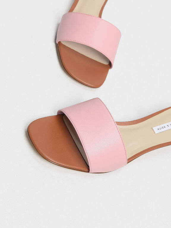 Classic Heeled Slide Sandals, Pink, hi-res