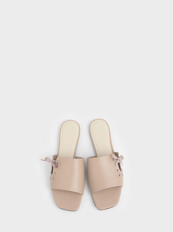 Ribbon Tie Slide Sandals, Beige, hi-res