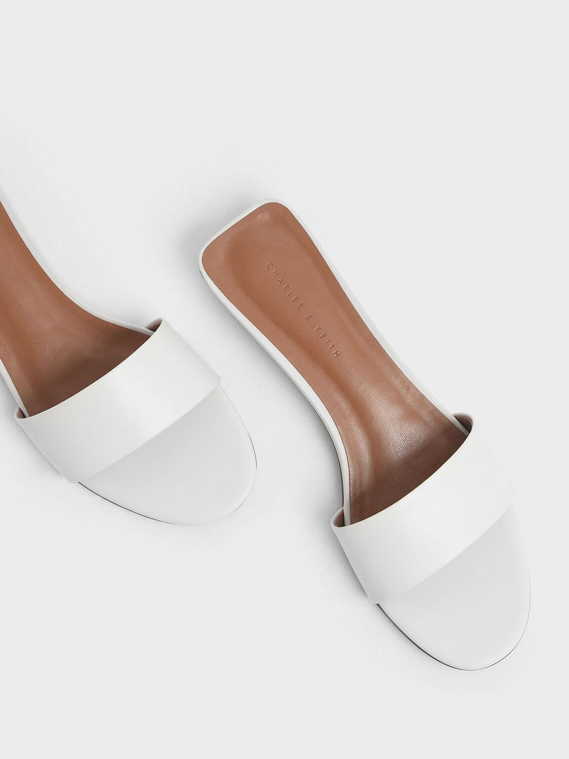 簡約平底拖鞋, 白色, hi-res