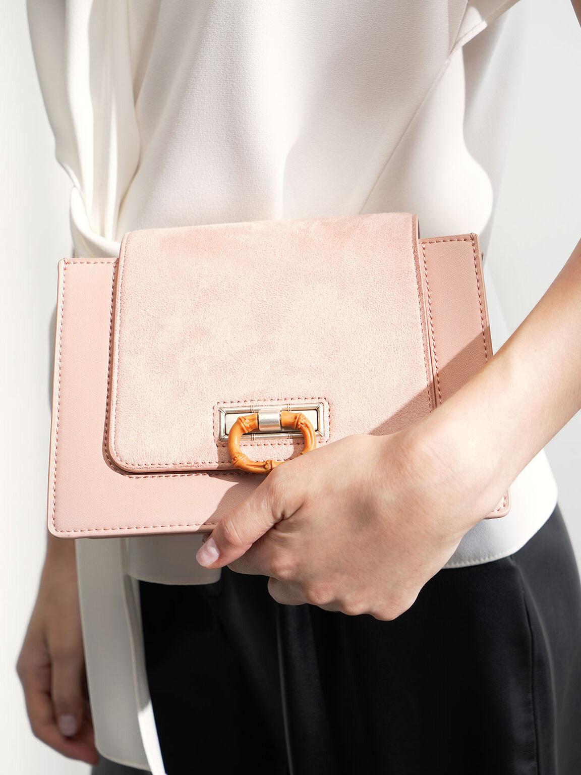 Textured Crossbody Bag, Pink, hi-res