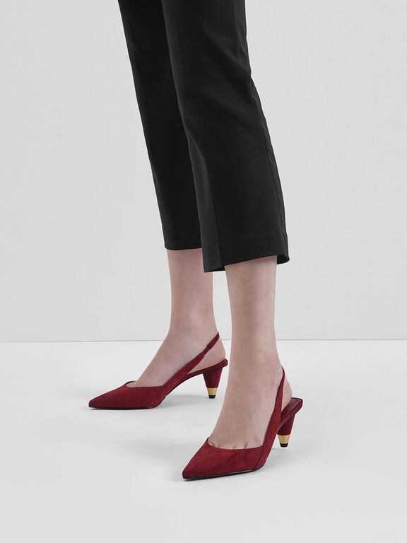 Gold Accent Cone Heel Slingbacks, Red
