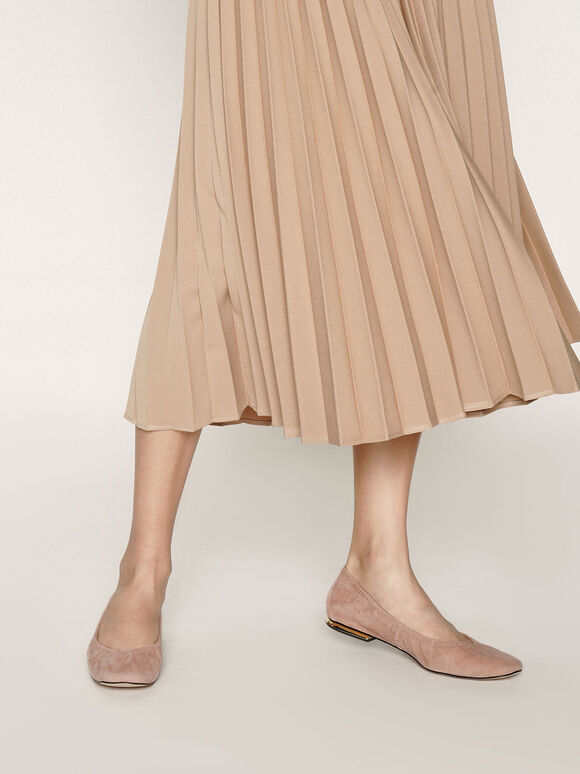 Ruched Ballerina Flats (Kid Suede), Blush, hi-res