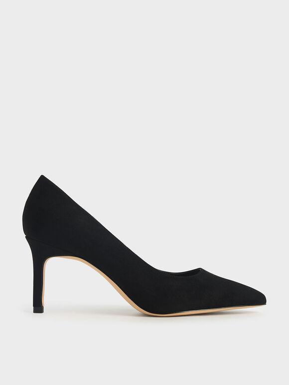 尖頭素面高跟鞋, 黑色特別款, hi-res