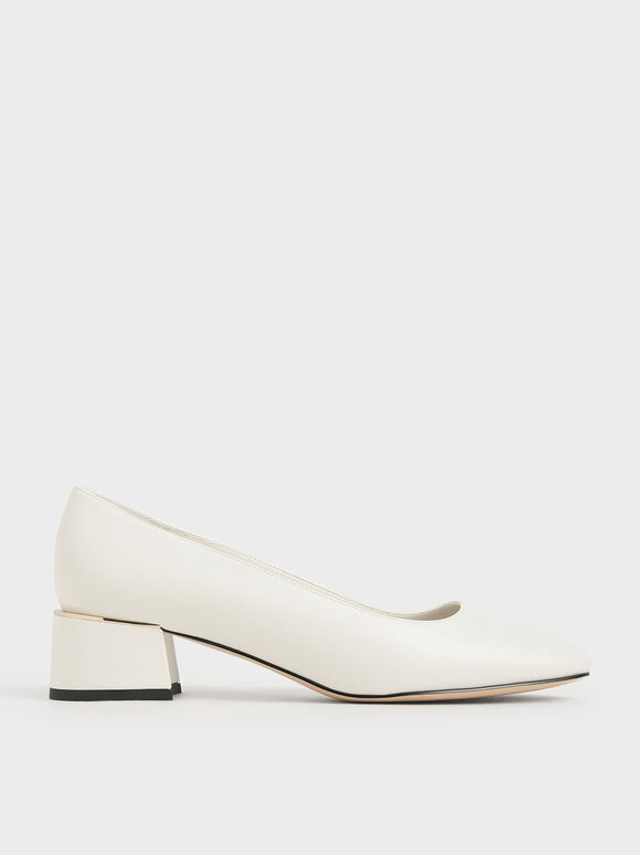 Square Toe Block Heel Pumps, Chalk, hi-res