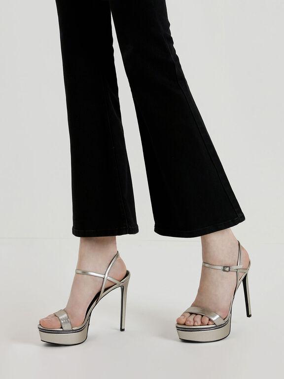 Gem Encrusted Metallic Platform Heels, Silver