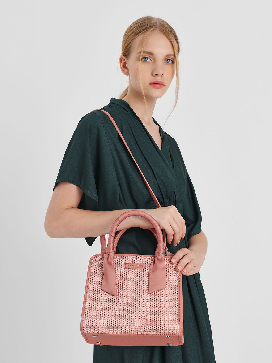 Satin Scarf Wrapped Woven Bag, Coral Pink, hi-res