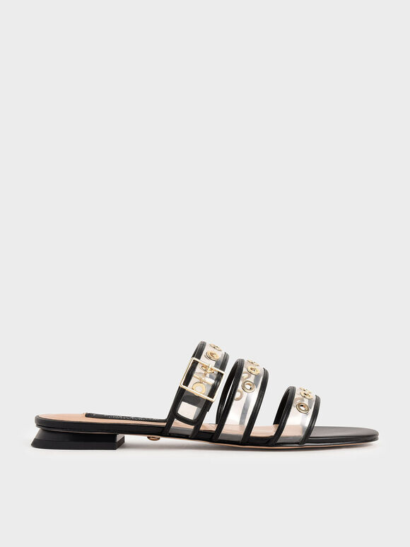 Leather Eyelet-Embellished Slide Sandals, Black, hi-res