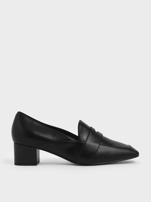 Square Toe Block Heel Loafers, Black, hi-res