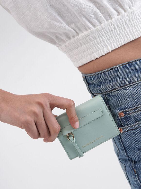 Front Zip Card Holder, Mint Green, hi-res