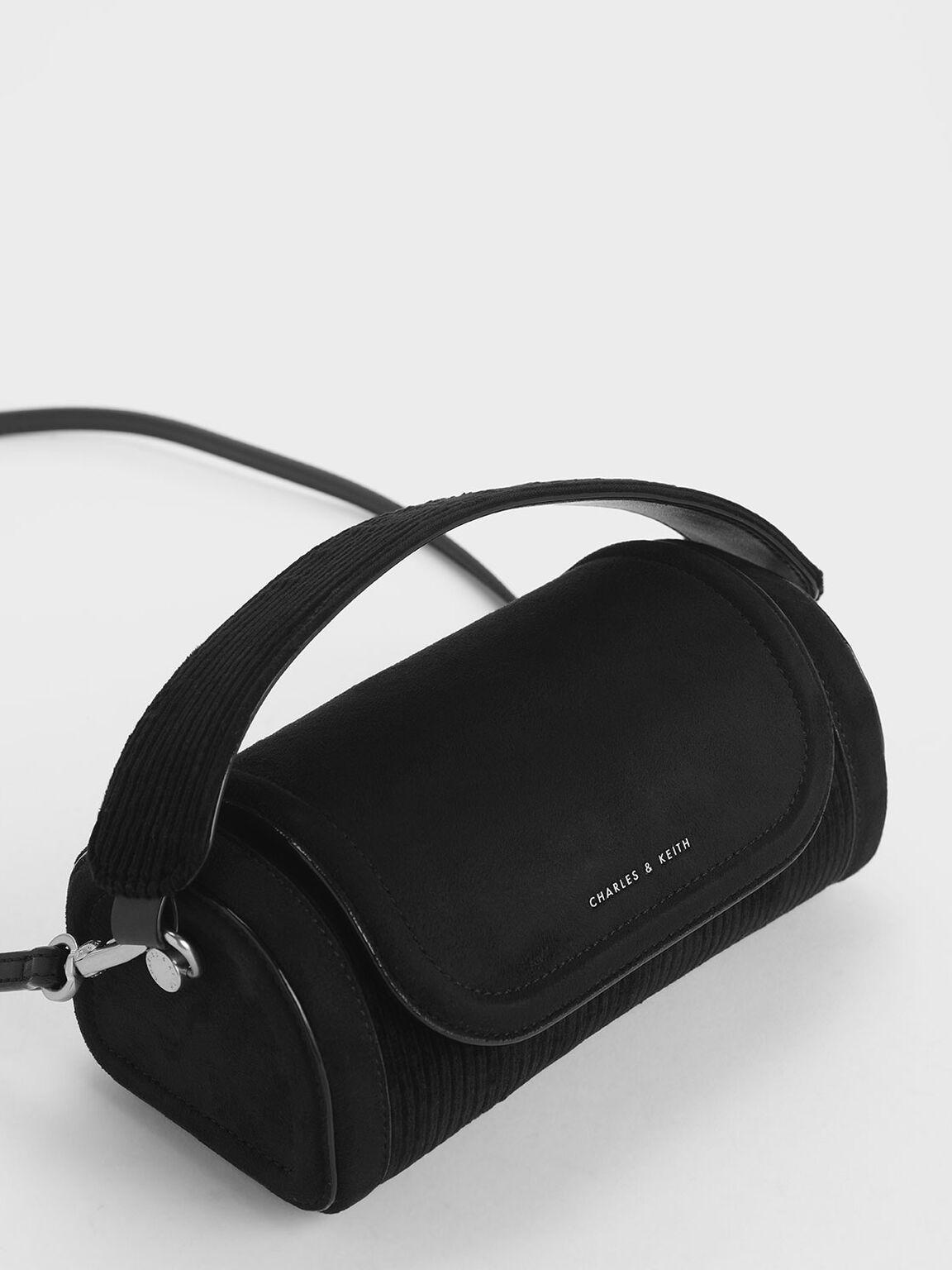 Corduroy Mini Duffle Bag, Black, hi-res