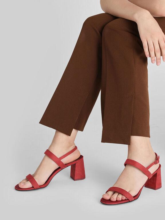 Flare Block Heel Sandals, Red