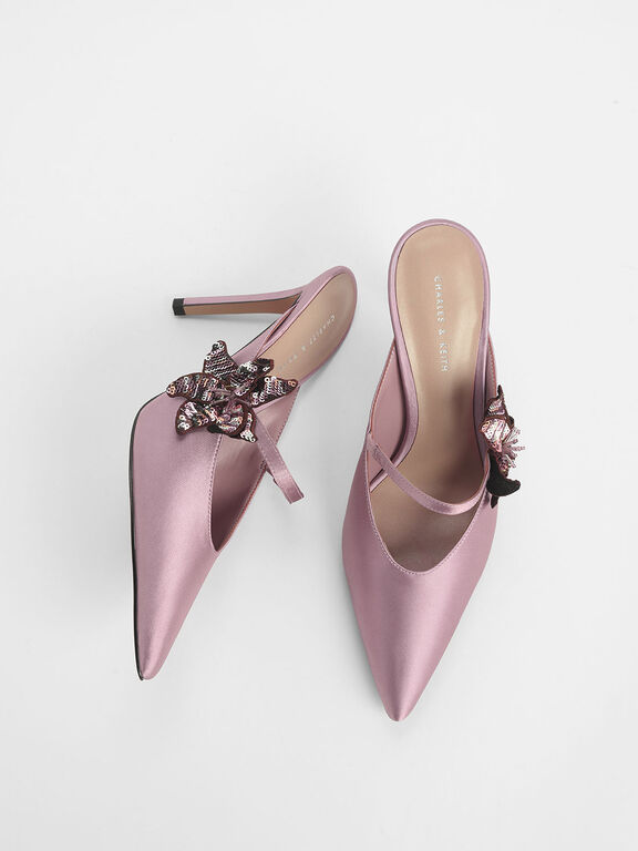 Sequin Flower Satin Mules, Pink, hi-res