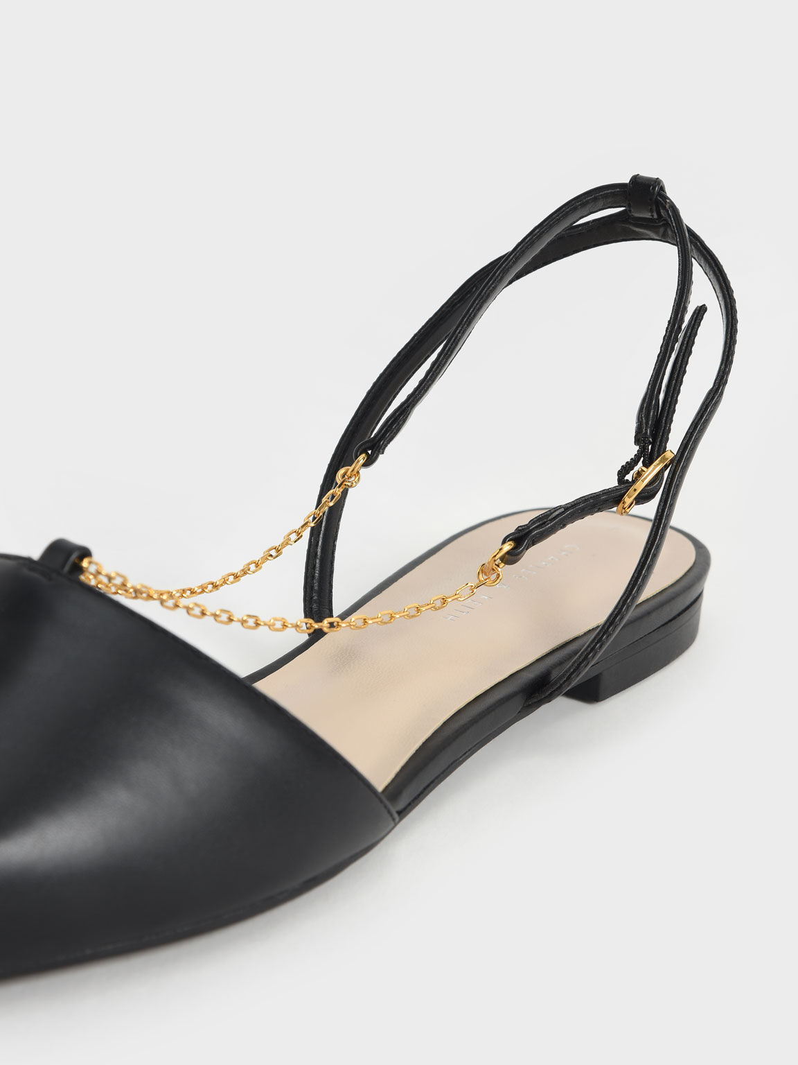 Chain Strap Slingback Ballerinas, Black, hi-res