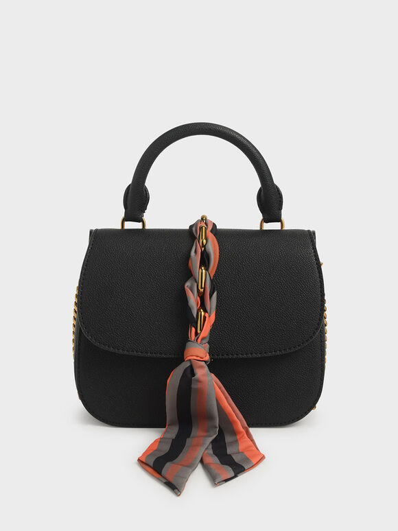 Braided Front Flap Bag, Black, hi-res