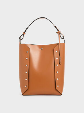 Large Reversible Studded Tote Bag, Tan