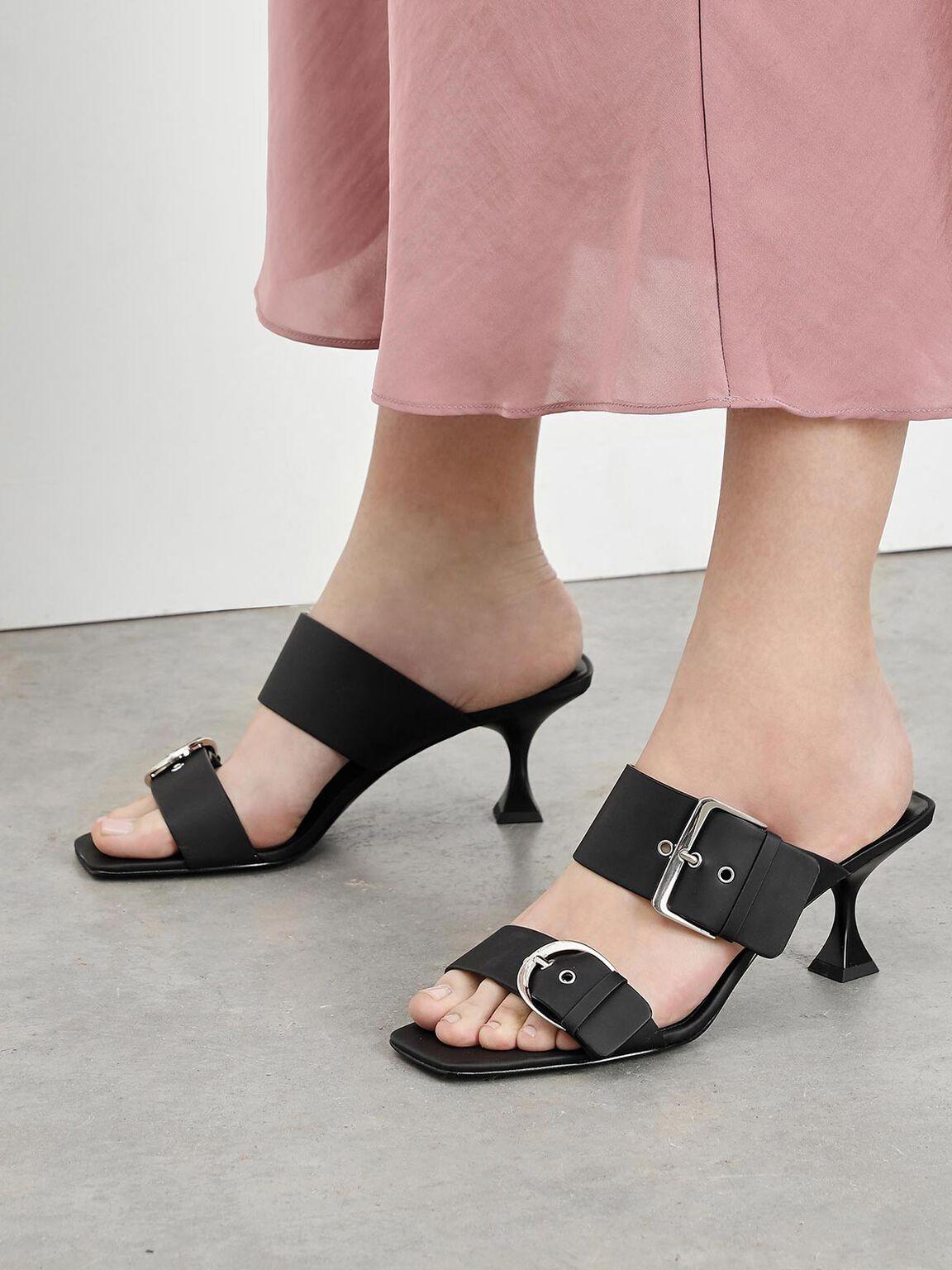 Square Toe Sculptural Heels, Black, hi-res