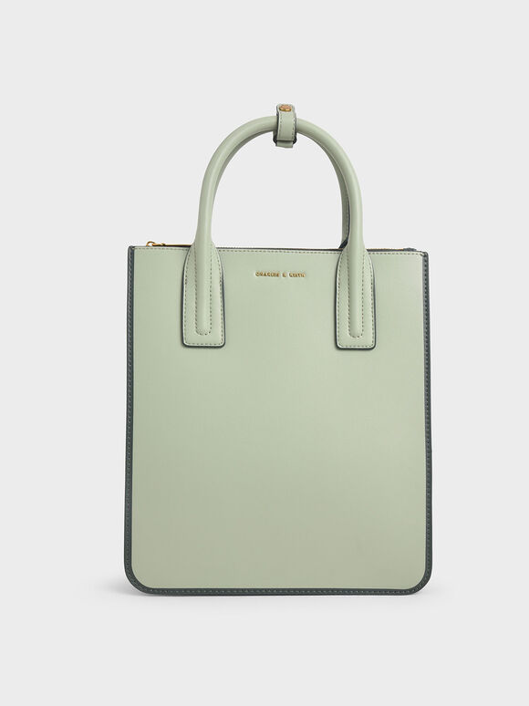 Double Handle Tote Bag, Mint Green, hi-res