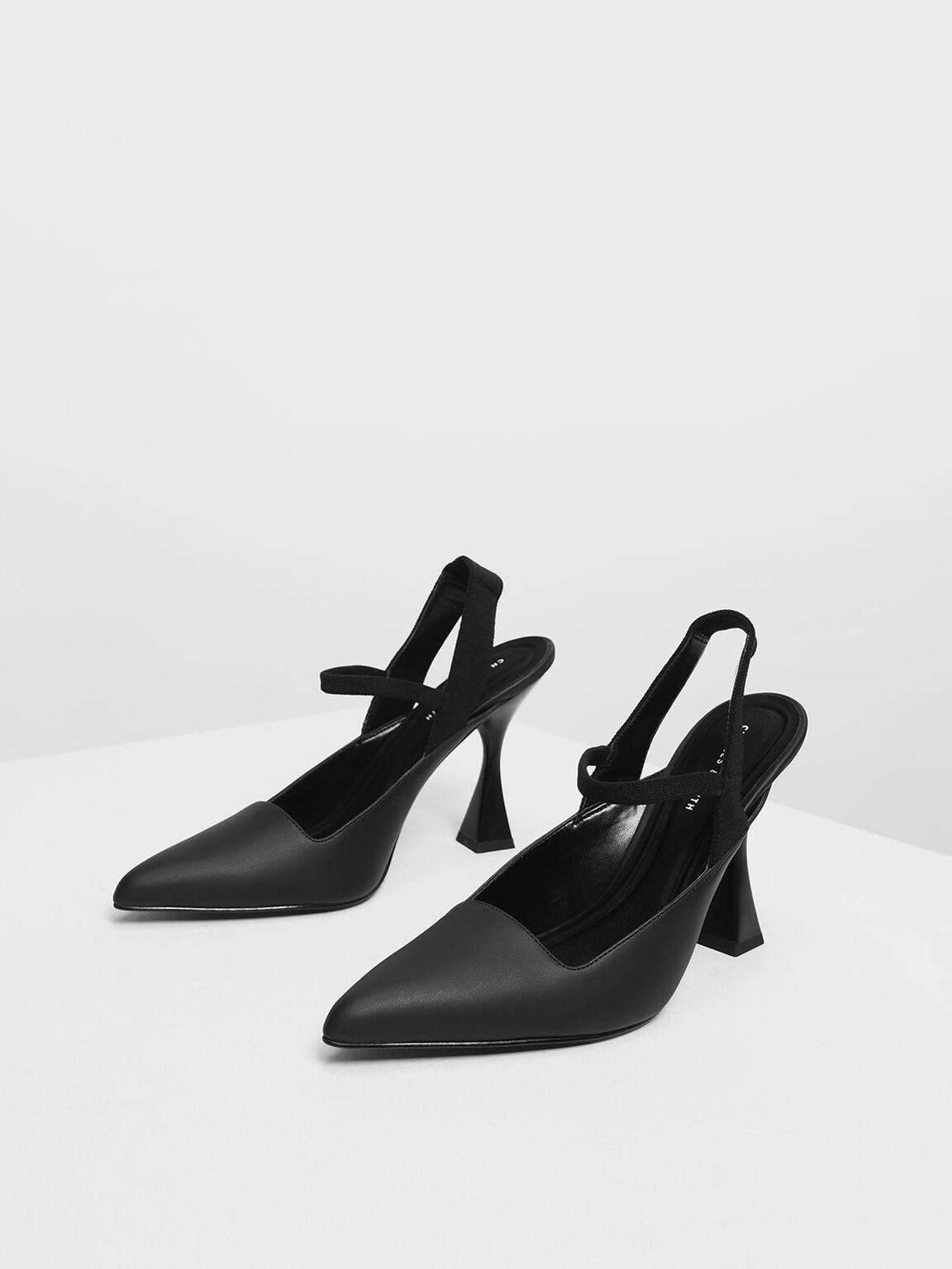 Sculptural Heel Slingback Sandals, Black, hi-res