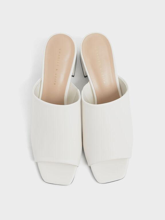Block Heel Slide Sandals, Chalk