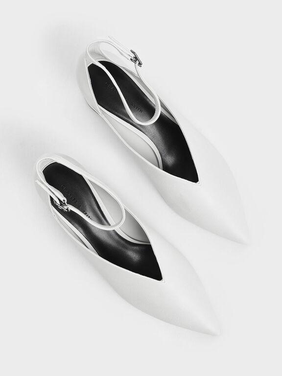 V-Cut Ankle Strap Pumps, White