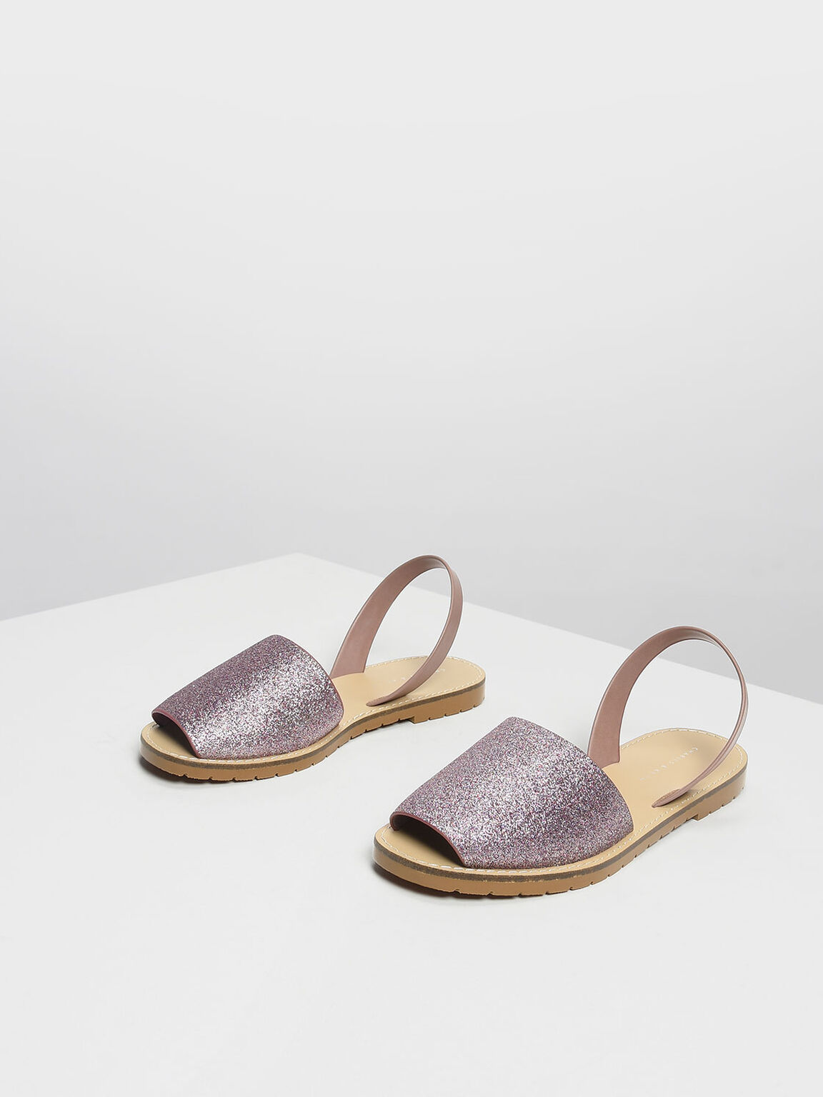 Glittery Slingback Sandals, Nude, hi-res