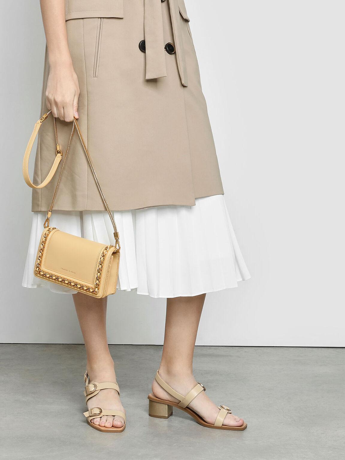 鍊條鑲邊手拿包, 黃色, hi-res