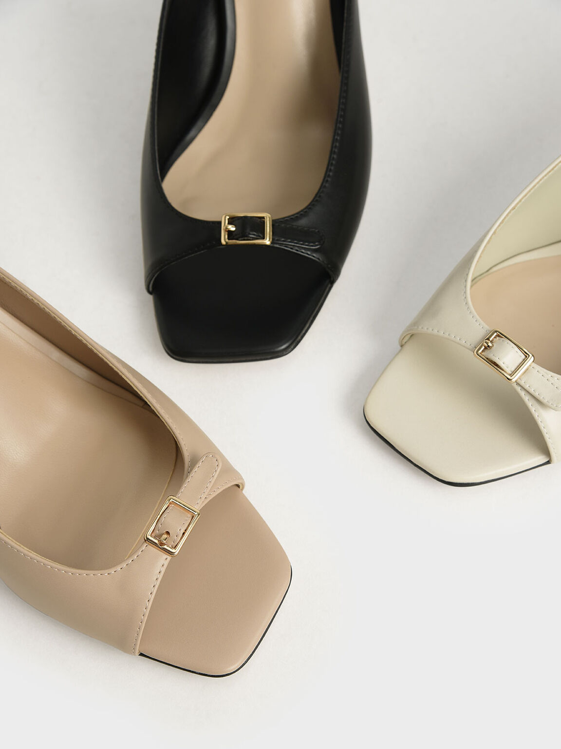 Front Buckle Slingback Mules, Chalk, hi-res