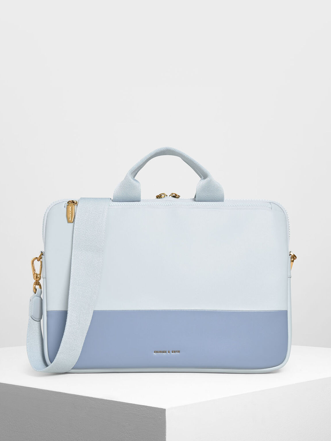 Two Tone Laptop Bag, Light Blue, hi-res