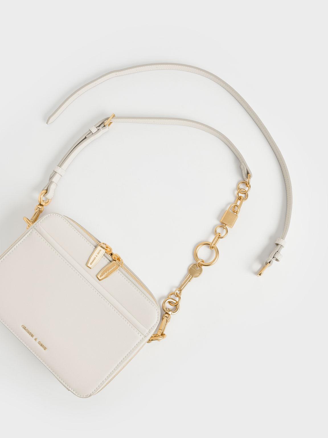 Chunky Chain Handle Two-Way Zip Crossbody Bag, Cream, hi-res