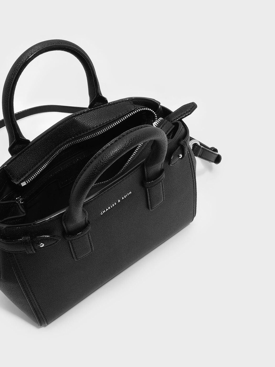 簡約風手提包, 黑色, hi-res