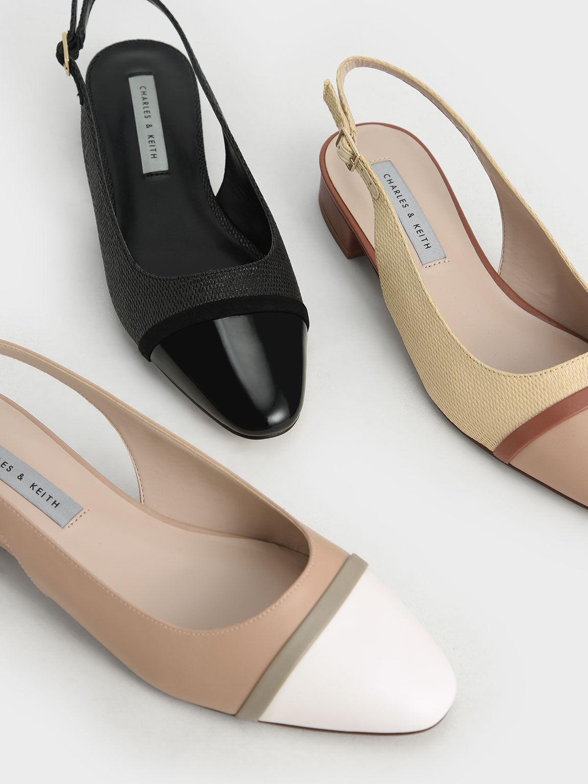 微甜草編低跟鞋, 黑色, hi-res