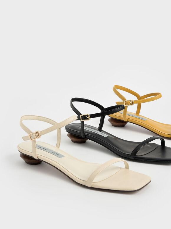 一字帶低跟涼鞋, 黑色, hi-res