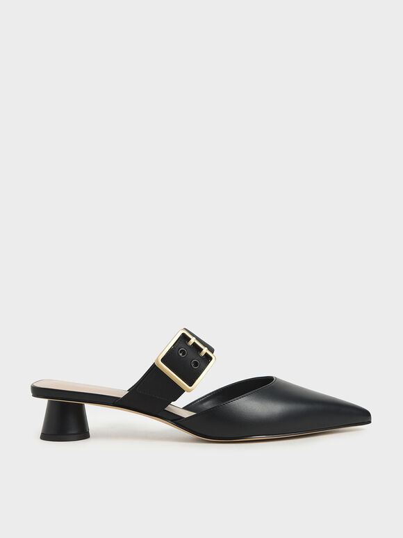 Satin Grommet Buckle Mules, Black, hi-res
