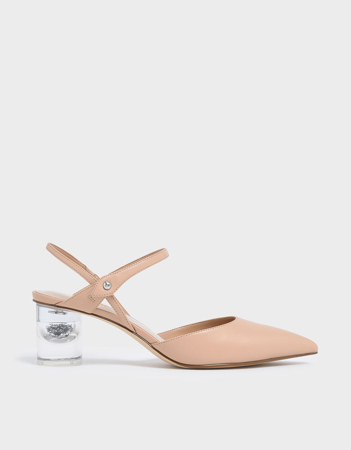 Nude Pointed Toe Lucite Heel