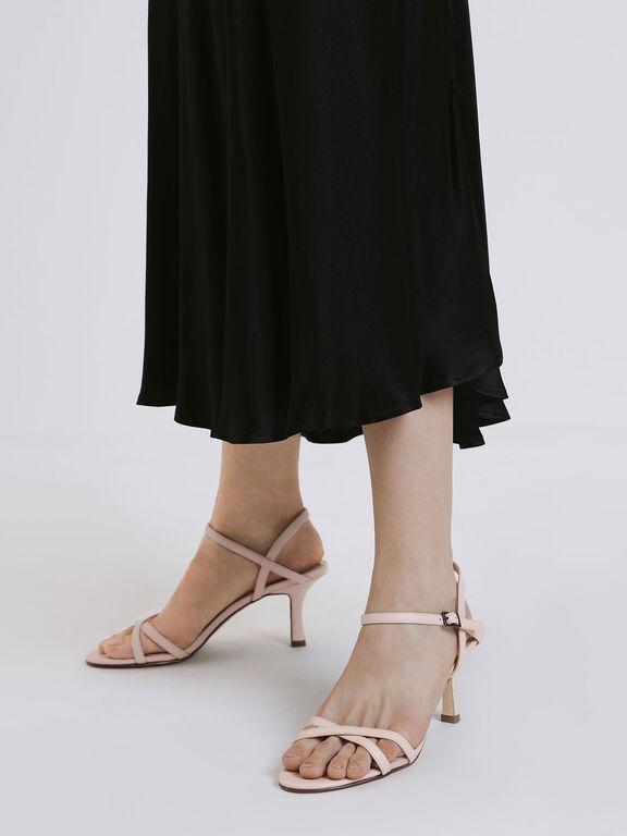 Criss Cross Blade Heel Sandals, Pink