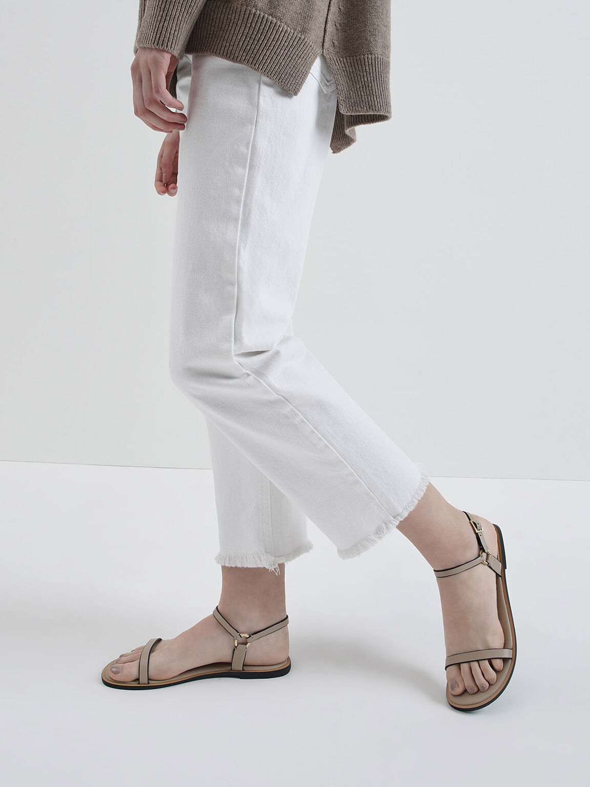 Flat Ankle Strap Sandals, Nude, hi-res