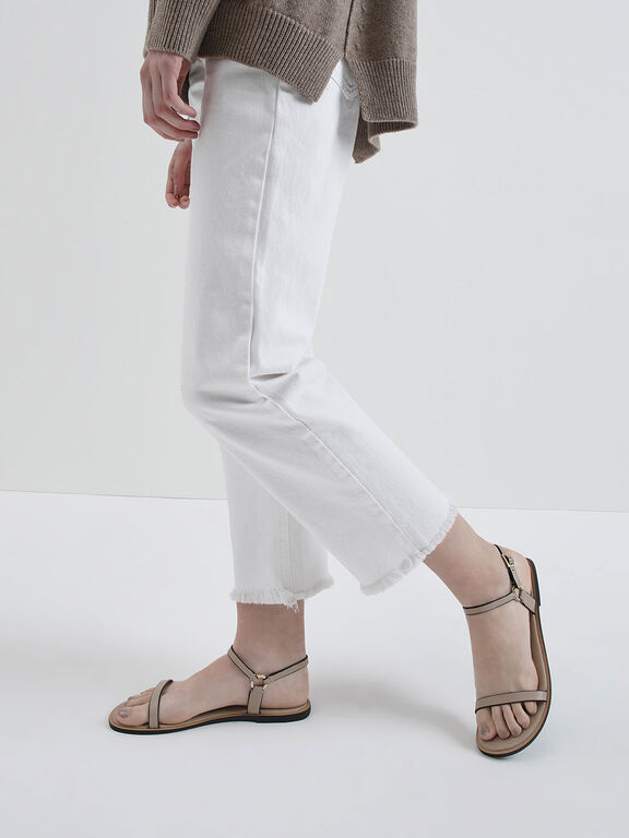 Flat Ankle Strap Sandals, Nude