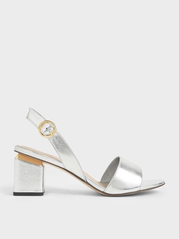 Metallic Slingback Block Heels, Silver, hi-res